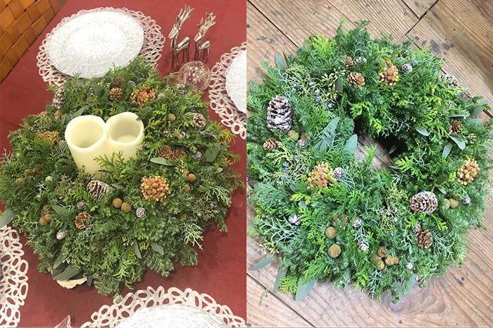 Flower Design Studio KOMUGI クリスマスリースワークショップ